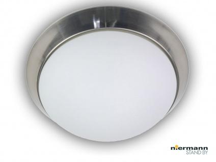 Deckenleuchte, rund Ø 25cm Opalglas, edler Dekorring Nickel matt Büroleuchte