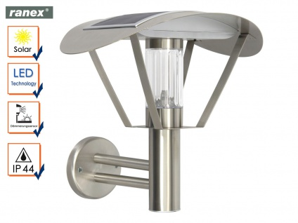 Solarlampe LED Außenwandleuchte Edelstahl, Dämmerungssensor, Solar Wandleuchte