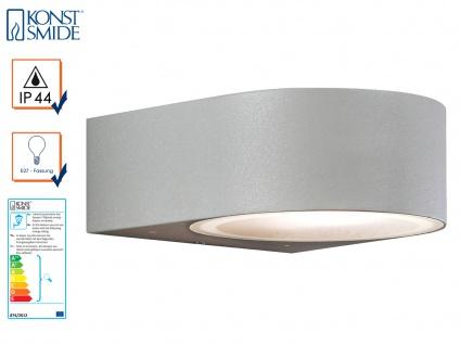 Stilvolle Wandleuchte Wandlampe TERAMO, E27, Aluminium grau, Höhe 7 cm