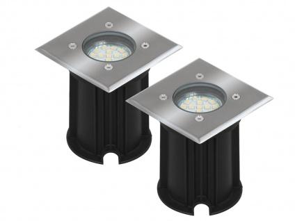 2er-Set LED-Bodeneinbaustrahler Outdoor, eckig, befahrbar, IP65
