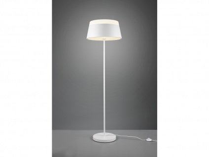 Stehlampe modern mit Lampenschirm Metall Weiß rund 45cm - schöne Wohnzimmerlampe