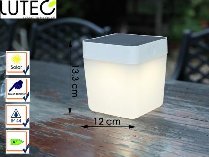 Solar LED Leuchte Weiß 3-Stufen Dimmer Höhe 13, 3cm IP44 Terrassenbeleuchtung