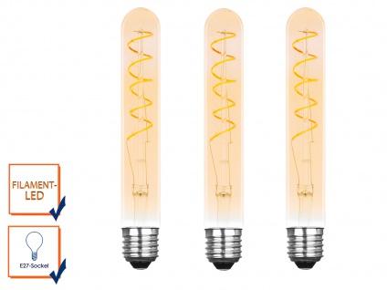 3er Set FILAMENT LED Leuchtmittel Tube mit 3 Watt, 150 Lumen, 2000K, E27-Sockel