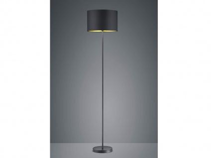 160cm hohe Standleuchte mit modernem TEXTIL Lampenschirm Ø35cm in schwarz/gold