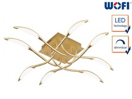 Dimmbare LED Deckenleuchte Goldfarbig 8-flammig Deckenbeleuchtung Wohnzimmer
