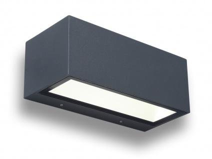 Hochwertige LED Außenwandleuchte ALU Anthrazit Up and Down Außenleuchten eckig M