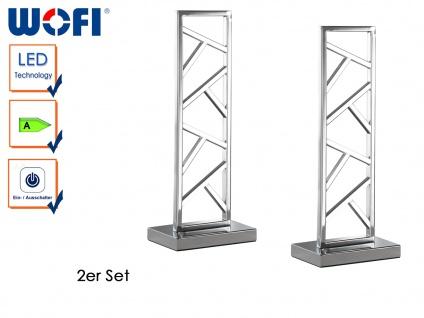 2er Set LED Tischleuchte in Silber, Höhe 40 cm, Nachttischleuchte Dekoleuchten