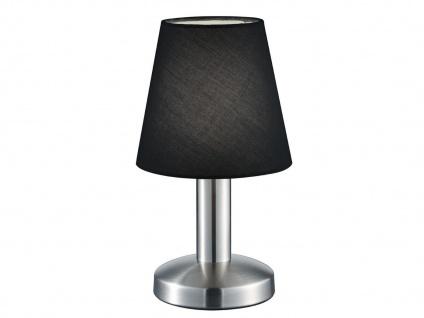 Kleine Tischleuchte Stoffschirm Textil schwarz mit Dimmer Touchfunktion & 5W LED