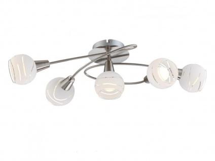 Deckenleuchte ELLIOT 5flammig Glasschirme satiniert, Deckenlampe Wohnzimmer Flur