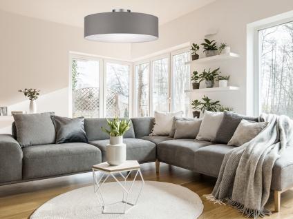 Deckenleuchte mit Stoff Lampenschirm Grau 40cm - Textil Deckenlampe Stoffschirm - Vorschau 4