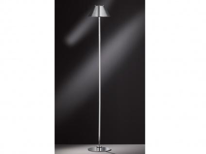 Design LED Stehleuchte kippbarer Lampenschirm Chrom glänzend H. 135cm -Flurlampe