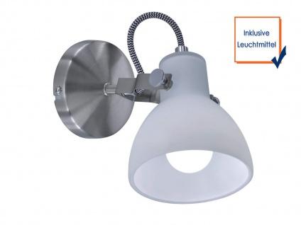 1 fl. LED Wandstrahler dreh-und schwenkbar in Nickel matt mit Glasschirm in weiß - Vorschau 3