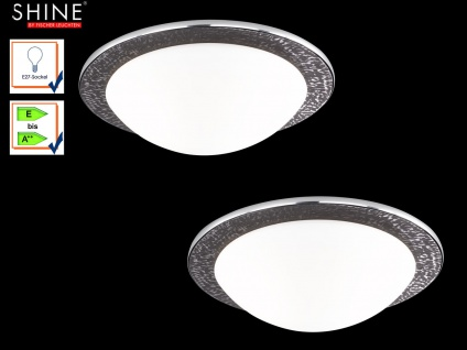 2er Set Deckenleuchten SHINE-ALU braun 38cm, Glas opal matt, Deckenlampe Design
