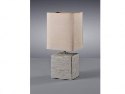 Keramik Tischleuchte eckig 29cm hoch mit Stofflampenschirm 13x11cm in Braun E14