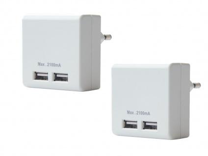 2er Set Dual USB Ladeadapter für Handy Smartphone Tablet - Ladegeräte Steckdose