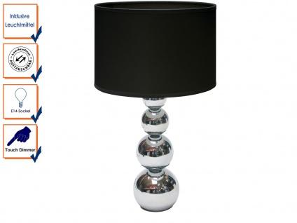 DEKO Tischleuchte mit Touch dimmbar Stoffschirm Schwarz E14 LM, Nachttischlampe