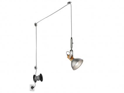 Silber antike Pendellampe mit Kabel & Stecker für Steckdose - Schirm schwenkbar - Vorschau 2