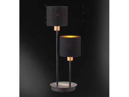 2 flammige LED Tischleuchte Stoffschirm in Schwarz /Gold Design Nachttischlampen - Vorschau 2