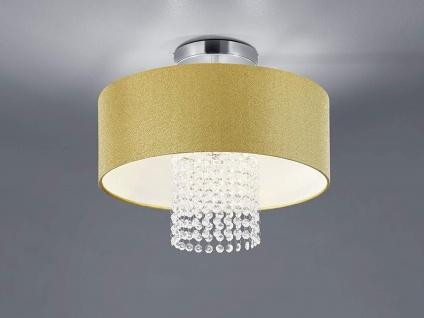 Mehrflammige Deckenleuchte mit rundem Textilschirm Ø40cm Gold & Acryl Kristallen