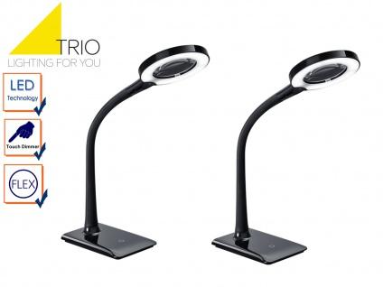 LED Schreibtischlampen Set schwarz mit Lupe, Tischlampen mit 3-fach Touchdimmer