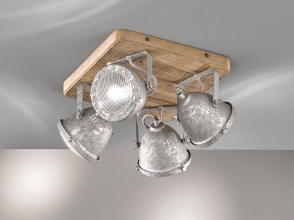 Industrial LED Deckenstrahler 4flammig dimmbar mit Holzbrett Metall Silber Antik - Vorschau 4