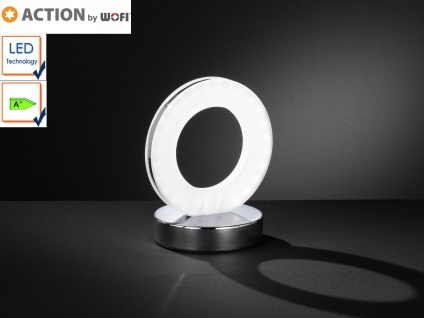 LED Tischleuchte Ring, Tischlampe Chrom / Acrylglas, Action by Wofi