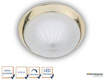 LED Deckenleuchte rund Ø 40cm Schliffglas satiniert Messing poliert, Büroleuchte