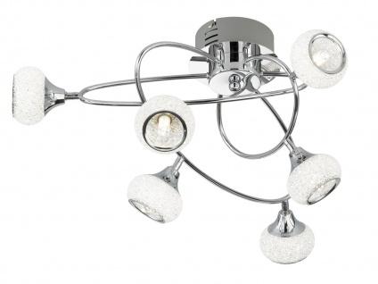 LED Deckenleuchte Chrom poliert 6 drehbare Spots, Deckenleuchte Wohnzimmer Diele - Vorschau 2