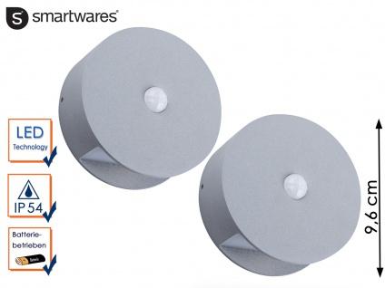 2er Set Runde LED Außenwandleuchte Alu Ø9, 6cm batteriebetrieben Außenbeleuchtung