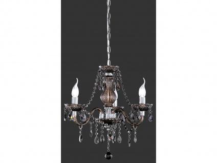 3 flammiger LED Kronleuchter dimmbar Ø46cm mit Acryl Kristall Behang in Schwarz