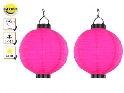 2er Set LED Solarleuchten Lampion rosa pink 25, 5cm, Beleuchtung Garten Terrasse