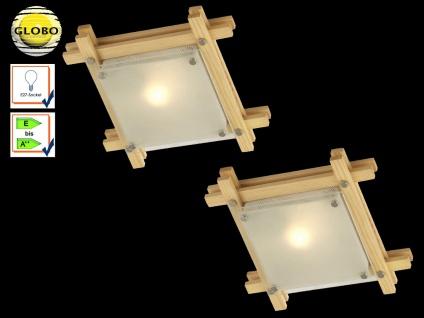 2er Set Globo Deckenlampe EDISON Holz hell Glas, Deckenleuchte Wohnraum Flur