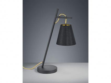 Coole Tischleuchte 50cm mit Stoff Lampenschirm höhenverstellbar in schwarz/gold