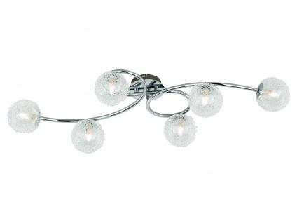 Große LED Deckenleuchte 6 flammig mit Alu Drahtgeflecht in Silber Chrom 83x35cm
