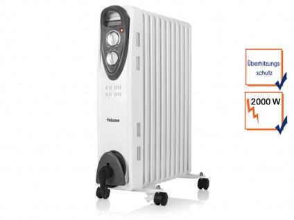 2000W Elektroheizung mit Rollen & Thermostat, Ölradiator Raumheizung 11 Rippen