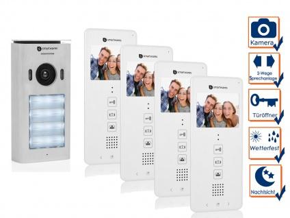 Video Türsprechanlage für 4 Familienhaus - 2 Draht Gegensprechanlage mit Kamera