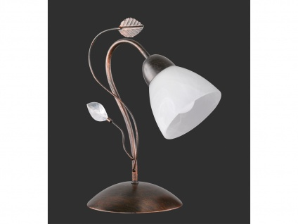 Antik Look LED Tischlampe im Florentiner Stil mit Blätter Motiv aus Metall Rost - Vorschau 2