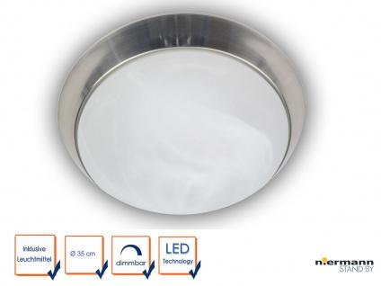 LED Deckenleuchte Glas Alabaster Zierring Nickel matt Ø 35cm LED Bürobeleuchtung