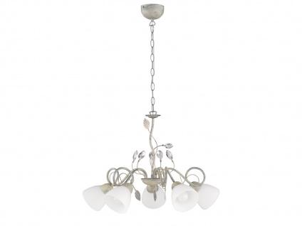 5 flammige Krone mit Glasschirmen - Wohnraumlüster aus Metall Antik Grau Blätter