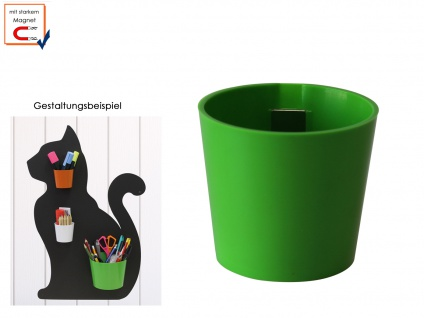Wandaufbewahrung Deko, Kunststofftopf m. Magnet, Kegel Ø 10cm Grün, KalaMitica