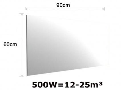 500W Infrarot Spiegelheizung fürs Bad, 90x60cm, für Räume 12-25m³