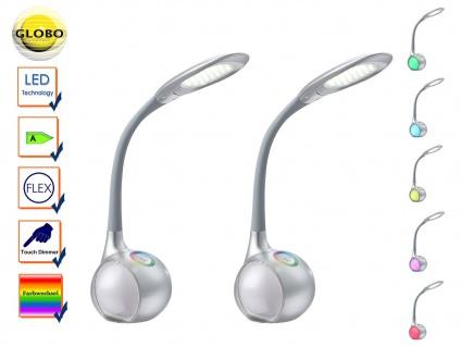2x Globo Flex LED Schreibtischlampen silber Touchdimmer Farbwechsel, Leselampen