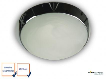 DED Deckenleuchte rund Ø25cm Landhausleuchte Glas Alabaster mit Zierring Chrom