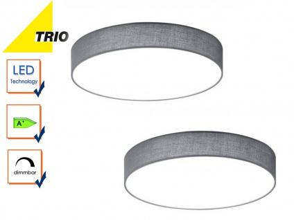 2er Set Trio LED Deckenleuchte dimmbar LUGANO 40cm Stoff grau, Wohnzimmerlampe