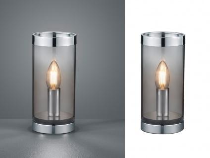 Kleine ausgefallene Tischleuchte Zylinder Tischlampe Nachttischlampe Rauchglas - Vorschau 3