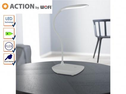 Flexible LED Schreibtischlampe silber, Dimmer, USB, Action by Wofi