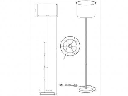 TRIO Design Stehleuchte Lampenschirm Stoff rund weiß H. 160cm E27 - Flurlampen - Vorschau 4
