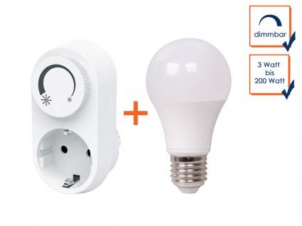 LED Steckdosendimmer / Dimmer-Adapter + LED-Leuchtmittel E27 dimmbar 800 Lm