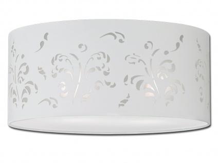 Deckenleuchte Ø 45cm Stoffschirm weiß mit Dekor Deckenleuchte Wohnzimmer Lampe