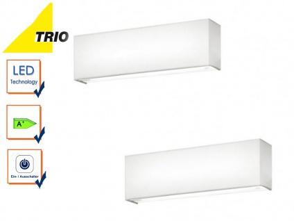 Trio LED Wandleuchten Set LUGANO weiß mit Schalter, Flurlampe Uplight Downlight
